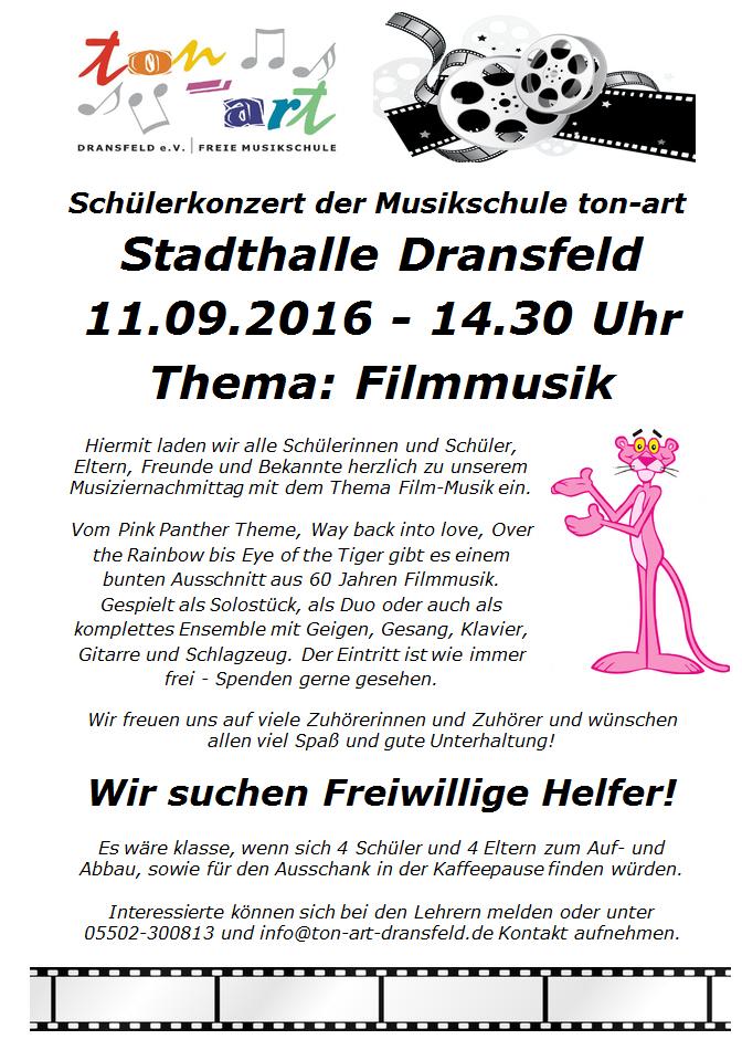 Schülerkonzert, 11.09.2016, Stadthalle Dransfeld