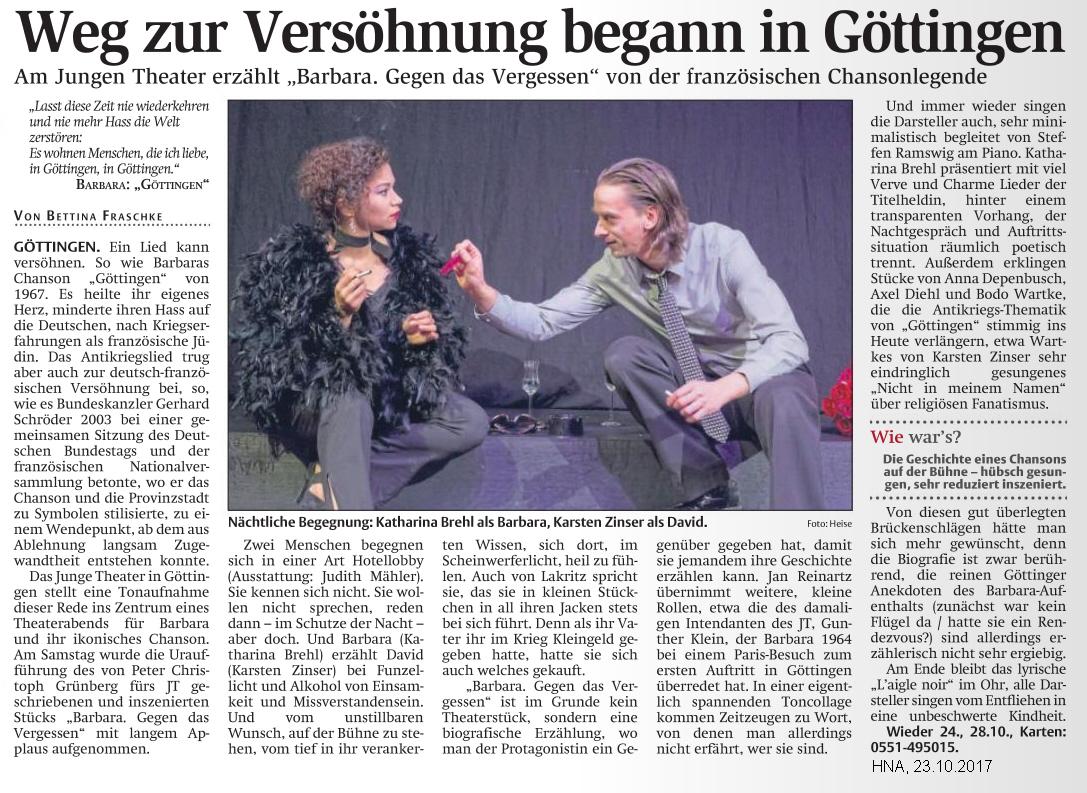 2017-10-23, HNA, Artikel, Barbara Gegen das Vergessen, JT, Kritik